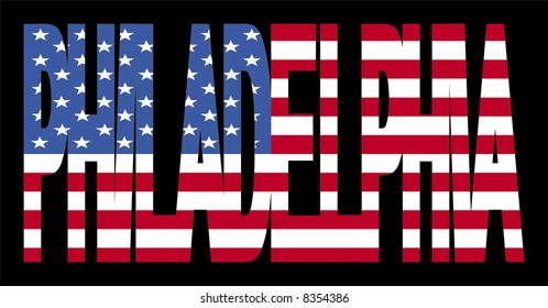 overlapping Philadelphia text with American flag illustration