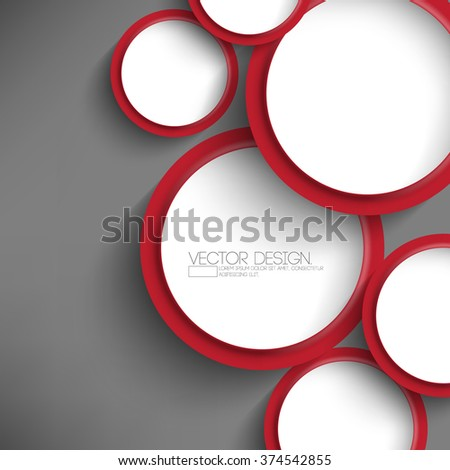 Overlapping Round White Red Frames Flat Stock Vector (Royalty Free ...
