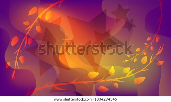overlapping translucent stars and shapes with wavy edges, smoothly curved branches with leaves against a background of a mixture of purple and orange colors. beautiful abstract wallpaper. vector