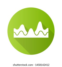 Overlapping waves green flat design long shadow glyph icon. Sound wave with flowing effect. Digital soundwave, audio waveform, audio rhythm. Music, stereo frequency. Vector silhouette illustration