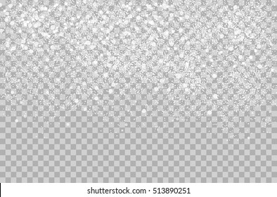 Overlay Falling shining snow isolated on the transperant alpha background. Vector Snowflake snowfall. Beautiful snow effect for christmas New Year project