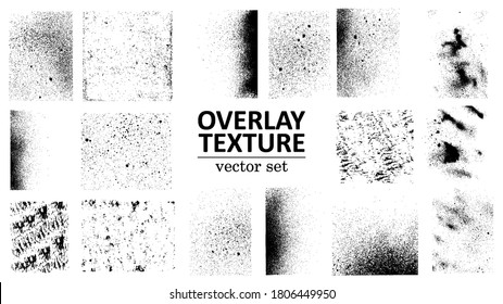 Overlay texture set. Different types of texture stamps (damaged, paint, old, concrete and other). Vector collection urban grunge overlay. Paint texture with spray effect and drop ink splashes. Vector