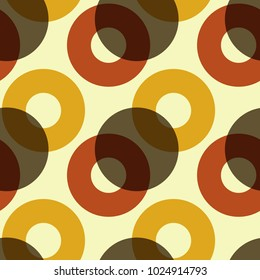 Overlaying color circles seamless pattern. For print, fashion design, wrapping, wallpaper