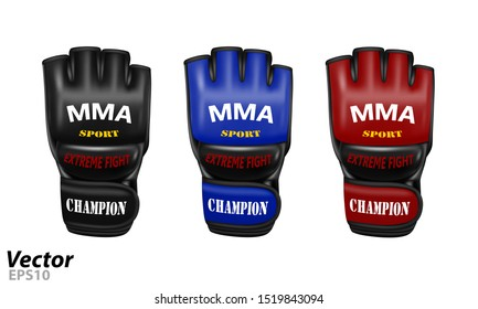 Overlays for fights without rules in a vector.MMA gloves in vector.Mixed martial arts gloves in vector.
