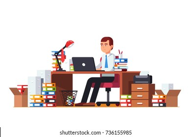 Overloaded business man doing office document paperwork sitting at cluttered desk working on laptop computer. Large piles and stacks of document papers & folders. Flat vector illustration isolated.