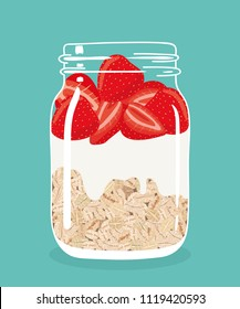 Overnight oats with fresh red strawberries and yogurt in glass vintage mason jar. Healthy natural delicious breakfast. Portion of oat flakes with berries in a jar. Vector hand drawn illustration.