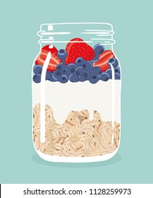 Overnight oats with fresh strawberries, blueberries and yogurt in glass vintage mason jar. Healthy natural delicious breakfast. Portion of oats with berries in a jar. Vector hand drawn illustration