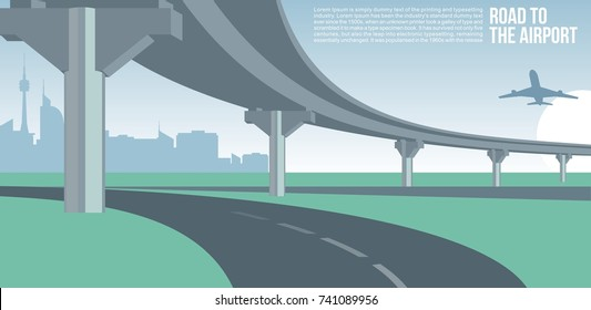 Overpass or bridge, in a city road to airport cityscape suburban or urban cool vector banner or poster illustration