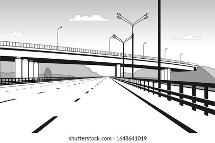 Overpass. Road Junction. The Road Goes Under The Bridge. Elevated Road. Stylized Vector Image.