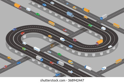 overpass (underpass) roads and various vehicles, vector illustration
