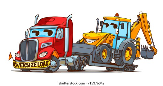 Oversize Load Semi Truck Cartoon Character and Backhoe Loader