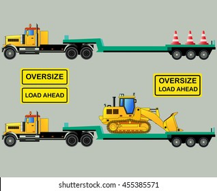 Oversize load truck with low-body trailer and loader. Oversize load signs. Vector illustration. Isolated on grey. Icon. Flat style