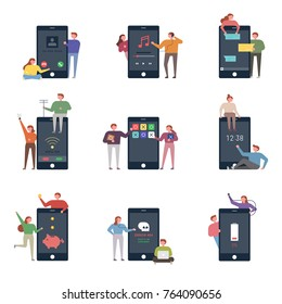 oversize mobile phone app interface and small character vector illustration flat design