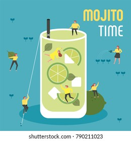 oversize mojito and downsizing characters drink time concept vector illustration flat design