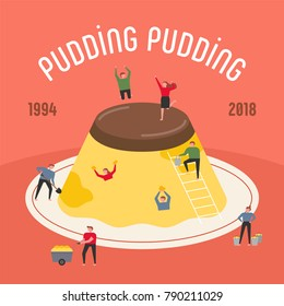 oversize pudding and downsizing characters sweet party concept vector illustration flat design