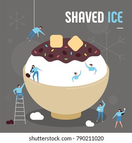 oversize shaved ice and downsizing characters snow party concept vector illustration flat design