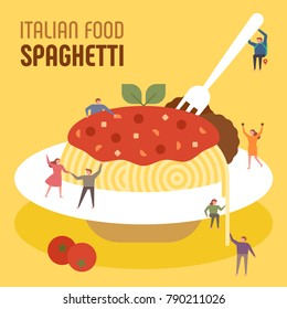 oversize spaghetti and downsizing characters noodle party concept vector illustration flat design