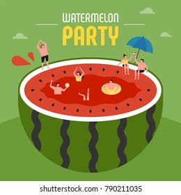 oversize watermelon and downsizing characters swimming pool party concept vector illustration flat design