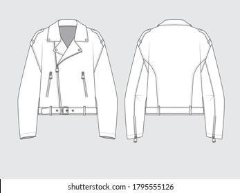 oversized biker jacket, flat pattern vector illustration