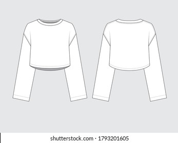 oversized crop long sleeved t-shirt front and back, drawing pattern with vector illustration