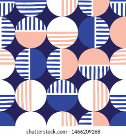 Oversized Retro Geo Dots Vector Seamless Pattern. Over Scaled Modern Geometric Blue and Pink Circles. Simple Bold Streaking Minimalist Background. Perfect for Fashion, Home Decor
