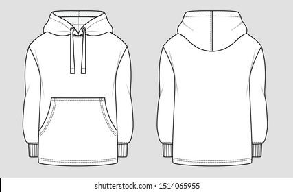 Oversized trend hoodie. Mockup template.