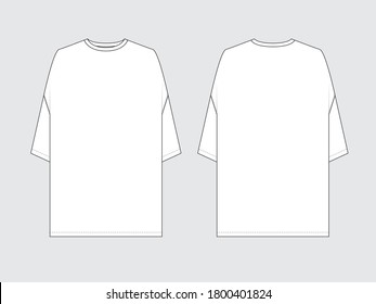 oversized t-shirt, front and back, drawing flat sketches with vector illustration