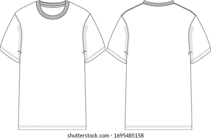 oversized T-shirt - Vector CAD - mens t shirt, technical drawing, flat sketch, for Adobe Illustrator