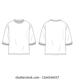 Oversized White T-shirt template using for fashion cloth design and accessories for designer to make mock up or blue print in company.