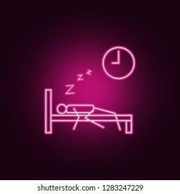 oversleep work outline icon. Elements of Lazy in neon style icons. Simple icon for websites, web design, mobile app, info graphics