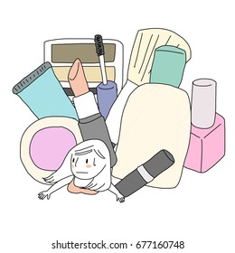 Overspending and shopaholic person concept with cosmetic products falling over weary woman who spending too much on beauty items. Girl lying down underneath many cosmetics packages.