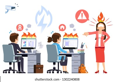 Overtime by strict supervisors. Employees are persecuted to work hard. Scary office concept. Quick orders to complete the work on schedule.