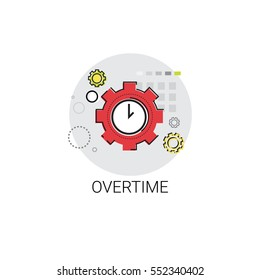 Overtime Extra Hours Work Icon Vector Illustration