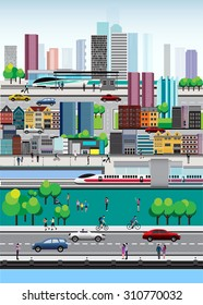 Overview of Cityscape. Vector Design City Lifestyle in Metropolis. Urban cityscape.