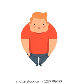 Overweight boy, cute chubby child cartoon character vector Illustration on a white background
