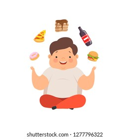 Overweight boy sitting on the floor and juggling fast food dishes, cute chubby child cartoon character vector Illustration on a white background