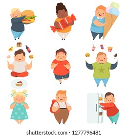 Overweight boys and girls set, cute chubby children cartoon characters with fast food vector Illustration on a white background