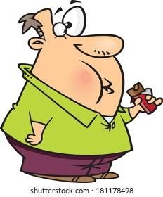 overweight cartoon man eating a chocolate bar