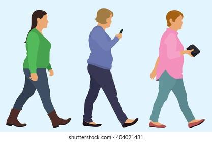 Overweight Caucasian Women Walking