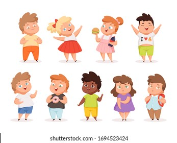 Overweight children. Fat kids eating different junk food oversize people in casual clothes vector different characters