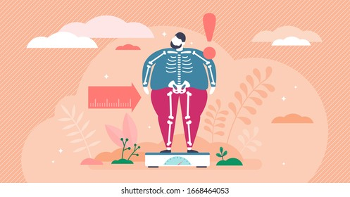 Overweight concept, flat tiny person vector illustration. Weight loss creative graphic art with very obese man on scales and slim skeleton beneath the fat. Unhealthy eating habits and bad nutrition.