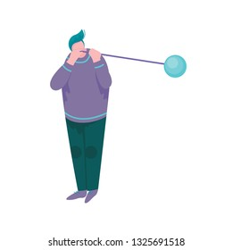 Overweight Man Blowing Glass Vessel, Male Glassblower or Glassworker Character, Hobby or Profession Vector Illustration