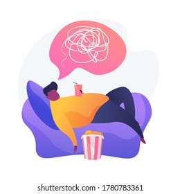 Overweight man cartoon character lying on armchair and drinking soda. Physical inactivity, passive lifestyle, bad habit. Sedentary lifestyle. Vector isolated concept metaphor illustration