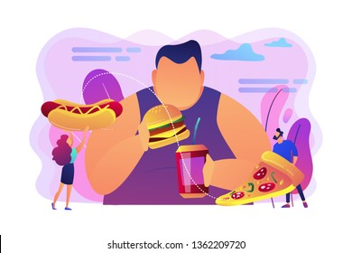 Overweight man eating burger, tiny people giving fast food. Overeating addiction, binge eating disorder, compulsive overeating treatment concept. Bright vibrant violet vector isolated illustration