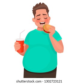 Overweight man eats fast food. Concept of improper food and unhealthy lifestyle. Vector illustration in cartoon style