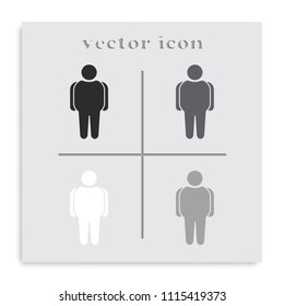 Overweight man flat black and white vector icon.