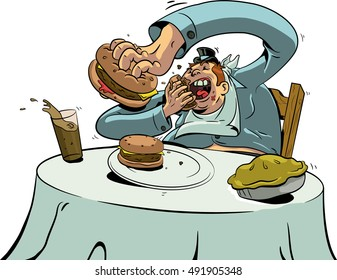 An overweight man quickly shovels food into his mouth