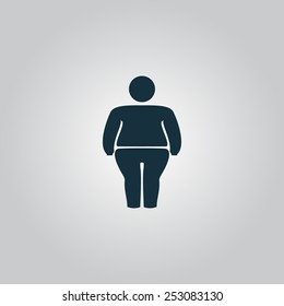 Overweight man symbol. Flat web icon, sign or button isolated on grey background. Collection modern trend concept design style vector illustration symbol