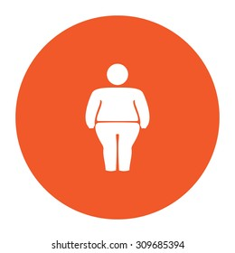 Overweight man symbol. Flat white symbol in the orange circle. Vector illustration icon