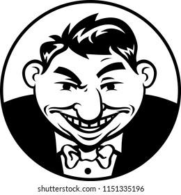 An overweight man in a tuxedo smirks slyly
